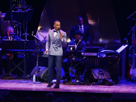 """Actor/singer Leslie Odom, Jr., of the hit Broadway play """"Hamilton,"""" performs at the Kennedy Center Spring Gala tribute to Marvin Gaye,"""" on Sunday, June 5th in Northwest. /Photo by Patricia Little"""
