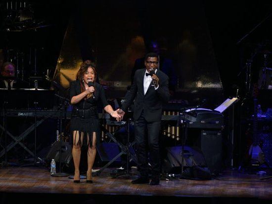 """Songwriters/singers Valerie Simpson and Kenneth Babyface Edmonds perform """"Ain't No Mountain High Enough"""" at the Kennedy Center Spring Gala tribute to Marvin Gaye,"""" on Sunday, June 5th in Northwest. /Photo by Patricia Little"""