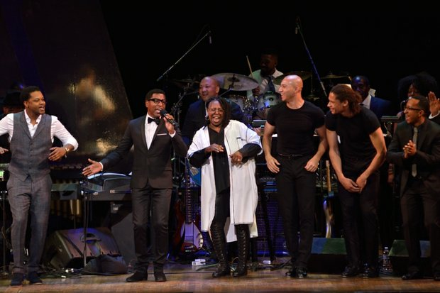 """From left to right: BJ the Chicago Kid, Kenneth Babyface Edmonds, Whoopi Goldberg, and the Manzari Brothers appear on stage for the concert finale at the Kennedy Center Spring Gala entitled, """"How Sweet It Is: A Tribute to Marvin Gaye,"""" on Sunday, June 5th in Northwest. /Photo by Patricia Little"""