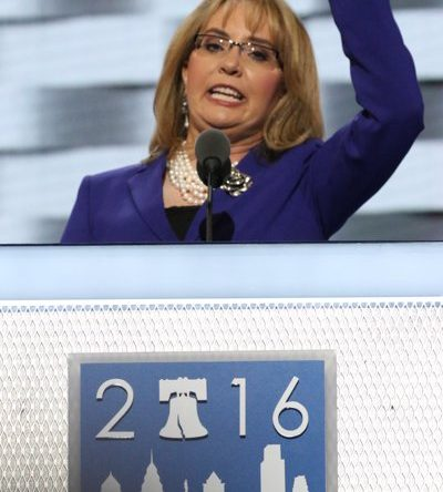 6 / 11 Gabrielle Giffords speaks during the DNCC in Philadelphia on Wednesday, July 27.