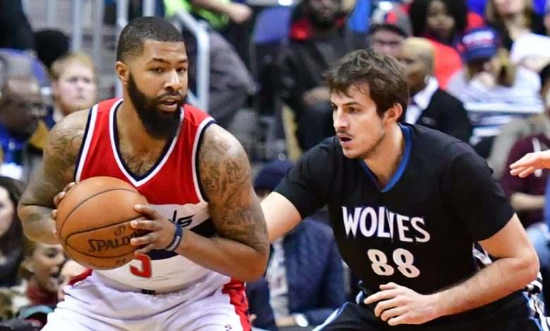 Washington Wizards forward Markieff Morris posts up against Minnesota Timberwolves forward Nemanja Bjelica in the first quarter of the Wizards' 112-105 victory at Verizon Center in northwest D.C. on Jan. 6. (John De Freitas/The Washington Informer)