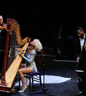 Singer and harpist Tulani performs a musical selection during the Icon Talks Empowerment Tour on Thursday, June 30 at the Arena Stage Mead Center for American Theater in Southwest. /Photo by Patricia Little