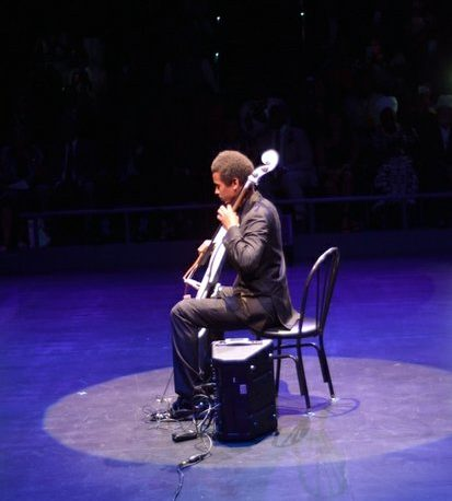 Cellist Benjamin Gates performs a selection during the Icon Talks Empowerment Tour on Thursday, June 30 at the Arena Stage Mead Center for American Theater in Southwest. /Photo by Patricia Little