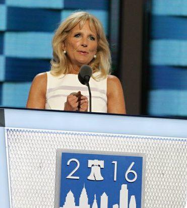 Jill Biden speaks during the DNCC in Philadelphia on Wednesday, July 27.