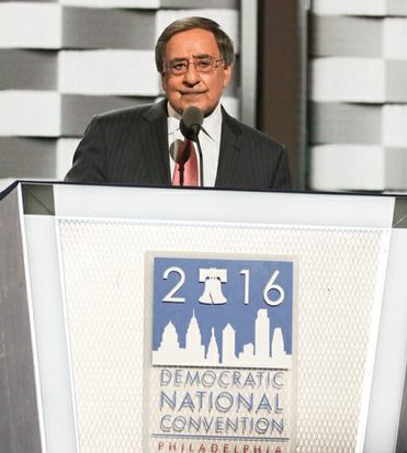 Former CIA Director Leon Panetta speaks during the DNCC in Philadelphia on Wednesday, July 27.