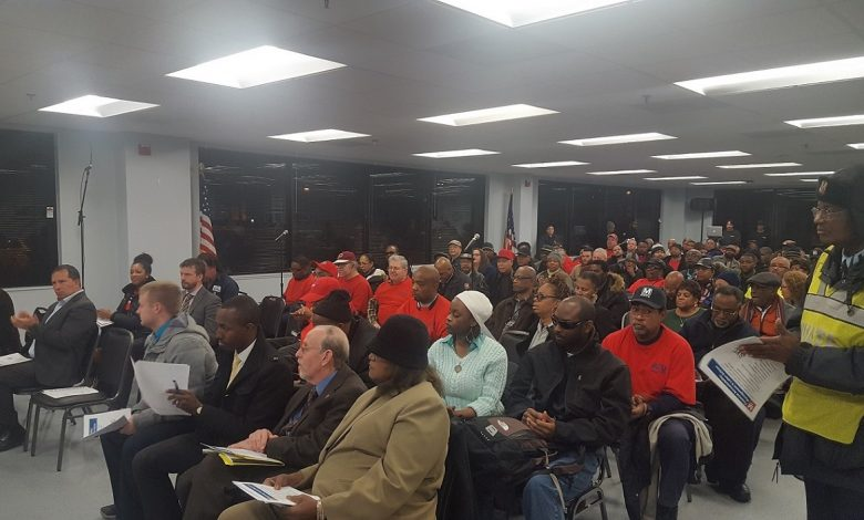 About 200 public transit commuters, Metro workers and state officials attend a discussion in Landover about the transit agency's proposed $1.8 billion fiscal 2018 budget on Jan. 5.