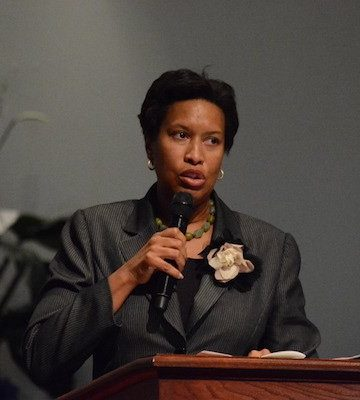D.C. Mayor Muriel Bowser speaks during the funeral service for Marion Christopher Barry at the Temple of Praise in southeast D.C. on Aug. 22. Barry, son of the late former Mayor Marion Barry Jr. and Effie Barry, died Aug. 14.