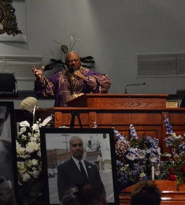 Rev. Willie F. Wilson delivers the eulogy at the funeral service for Marion Christopher Barry at the Temple of Praise in southeast D.C. on Aug. 22. Barry, son of the late former Mayor Marion Barry Jr. and Effie Barry, died Aug. 14.