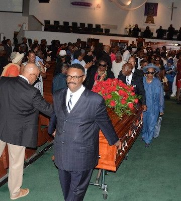 Hundreds attend the public memorial service for Marion Christopher Barry at the Temple of Praise in southeast D.C. on Aug. 22. Barry, son of the late former Mayor Marion Barry Jr. and Effie Barry, died Aug. 14.