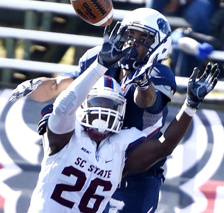 South Carolina State defensive back Jason Baxter defends against a pass attempt during the Bulldogs' 14-9 win over the Howard Bison at William H. Greene Stadium in northwest D.C. on Saturday, Oct. 15. /Photo by John E. De Freitas