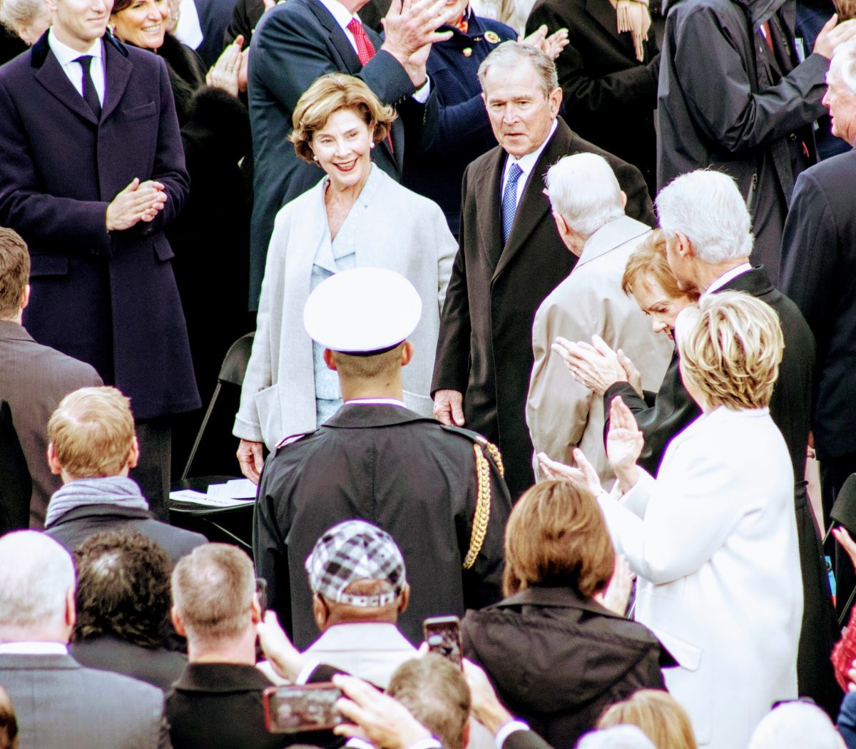 The 43rd President George W. Bush along with his wife Laura arrive at the swearing-in for the 45th President. /Photo by Shevry Lassiter