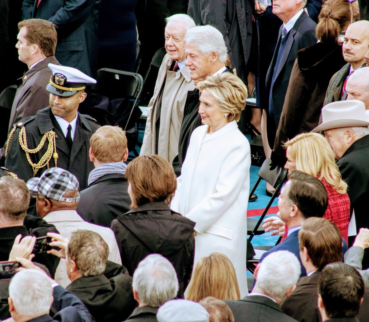 42nd President of the United States Bill Clinton and his wife Hillary arrive at the Inauguration of the 45th President. /Photo by Roy Lewis