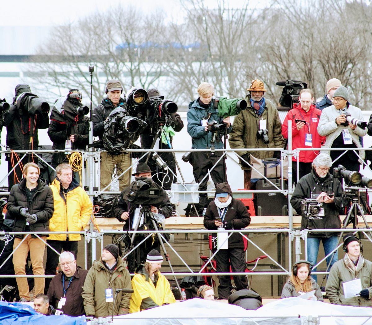 Photographers, including the Washington Informer photographer Roy Lewis capture the Inauguration of the 45th President. /Photo by Shevry Lassiter