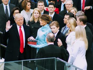 Donald Trump takes the oath of office as the 45th president of the United States at the U.S. Capitol on Jan. 20. /Photo by Shevry Lassiter