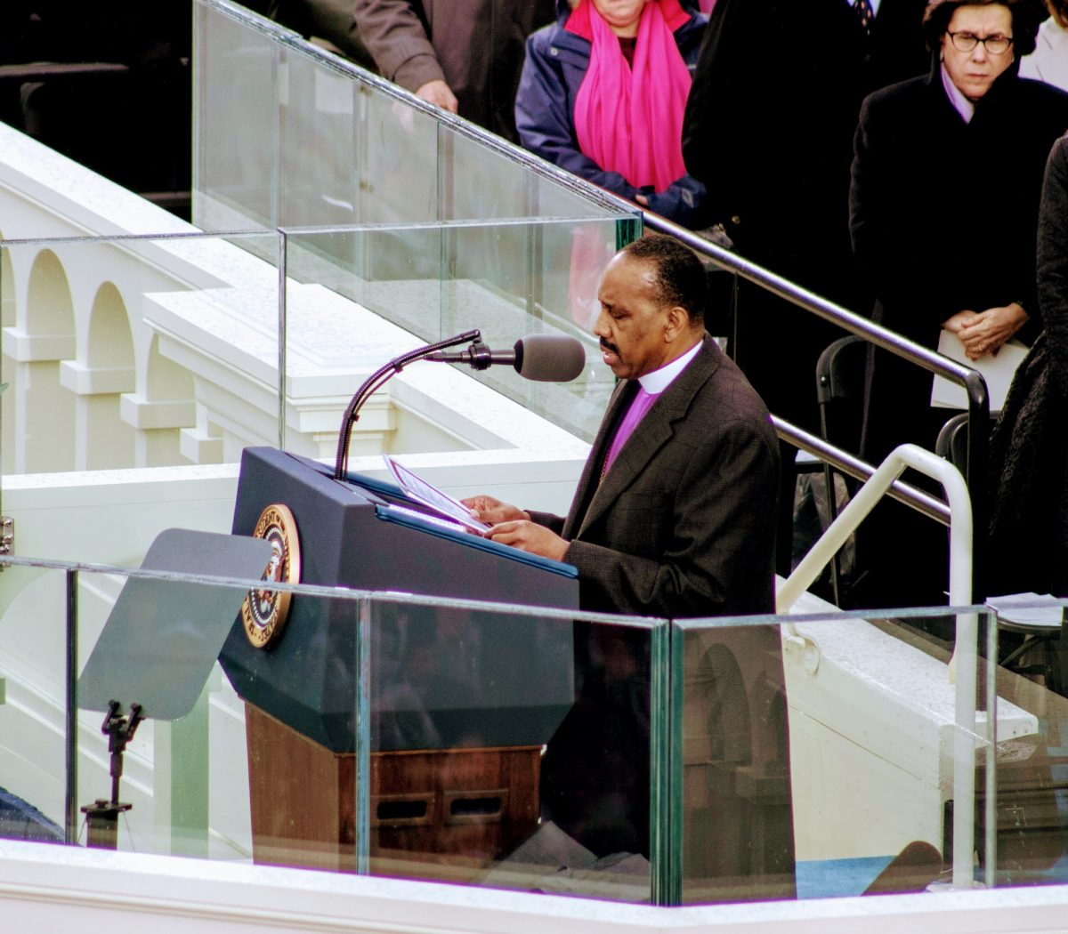 Bishop Wayne T. Jackson delivers the benediction at the inauguration ceremony of the 45th President. /Photo by Shevry Lassiter