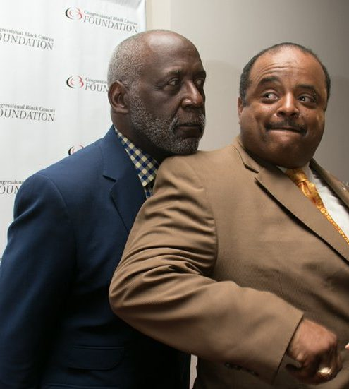 Actor Richard Roundtree kidding around with TVOne personality Roland Martin during the CBCF 20th annual Celebration of Leadership in the Fine Arts at Sidney Harman Hall in Northwest on Wed., September 14.