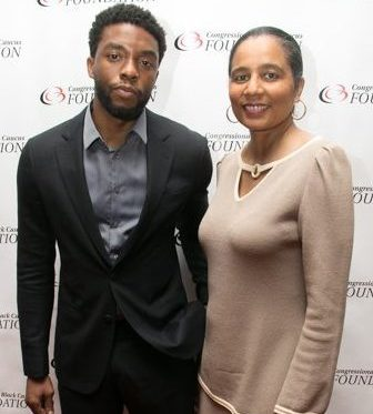 CBCF Vice President and CEO A. Shuanise Washington on the red carpet with Chadwick Boseman during the CBCF 20th annual Celebration of Leadership in the Fine Arts at Sidney Harman Hall in Northwest on Wed., September 14.