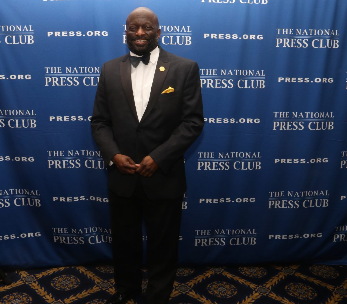 Jeffrey Ballou, news editor for Al Jazeera Media, is the first male African American installed as the 110th President of the National Press Club during a gala event held at the National Press Club on Saturday, Jan. 14. /Photo by Shevry Lassiter