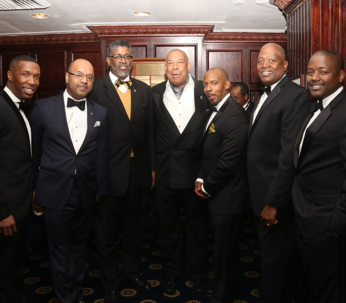 Harry Johnson (2nd left) and supporters at the LetsAllConnect at the inauguration gala of Jeffrey Ballou, 110th President of the National Press Club on Saturday, Jan. 14 at the National Press Club in Northwest. /Photo by Shevry Lassiter