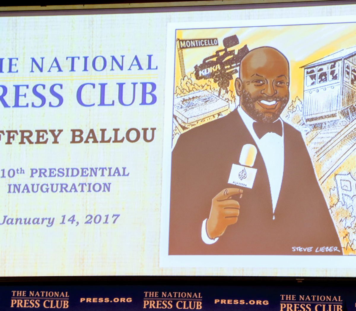 Steve Lieber designed this illustration for the program booklet to mark the inauguration of Jeffrey Ballou as the 110th President of the National Press Club. /Photo by Shevry Lassiter