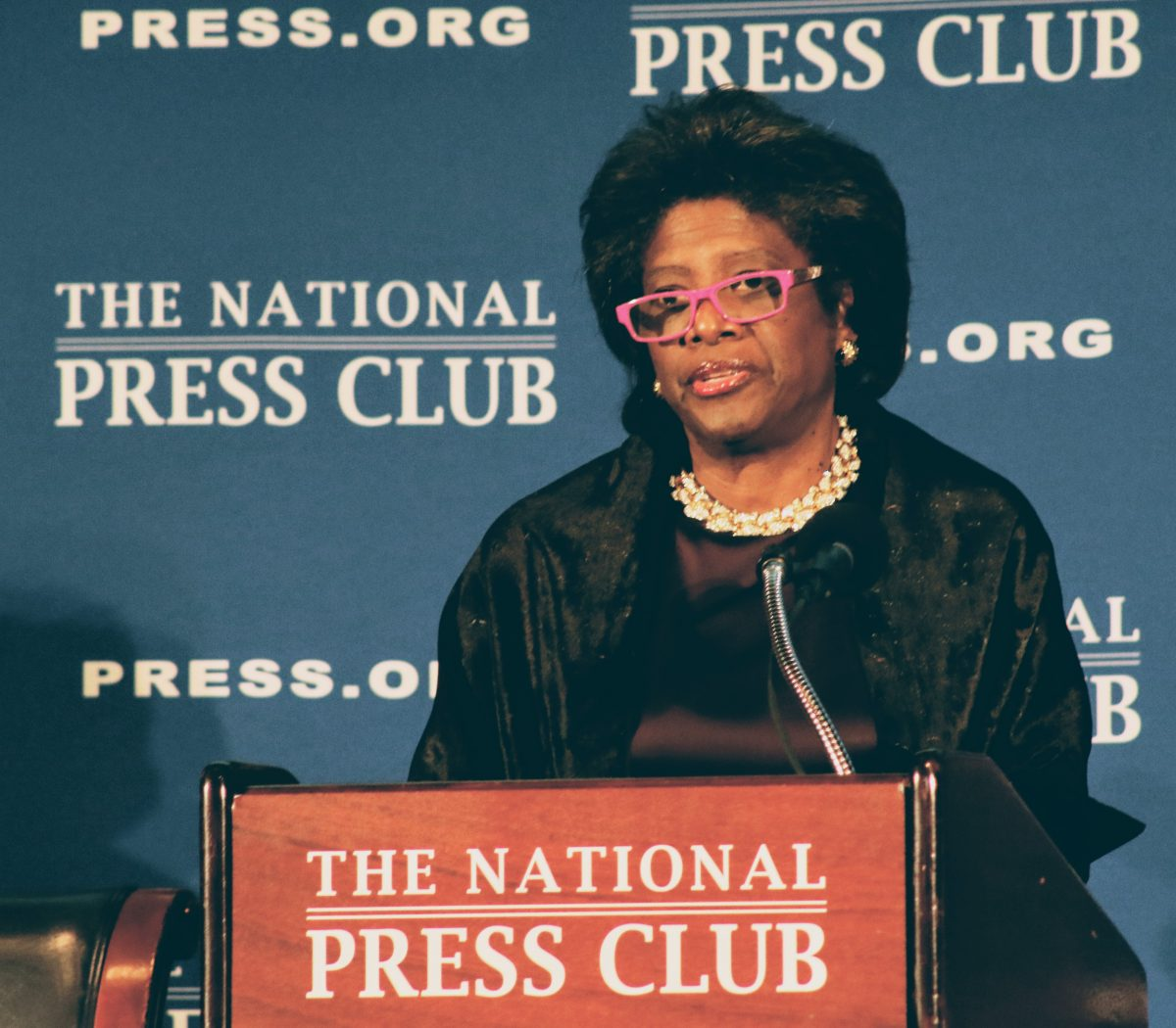 Sheila Cherry, 2004 National Press Club President and first African-American speaks to the occasion during the inauguration gala of Jeffrey Ballou as 110th President of the National Press Club on Saturday, Jan. 14. /Photo by Shevry Lassiter