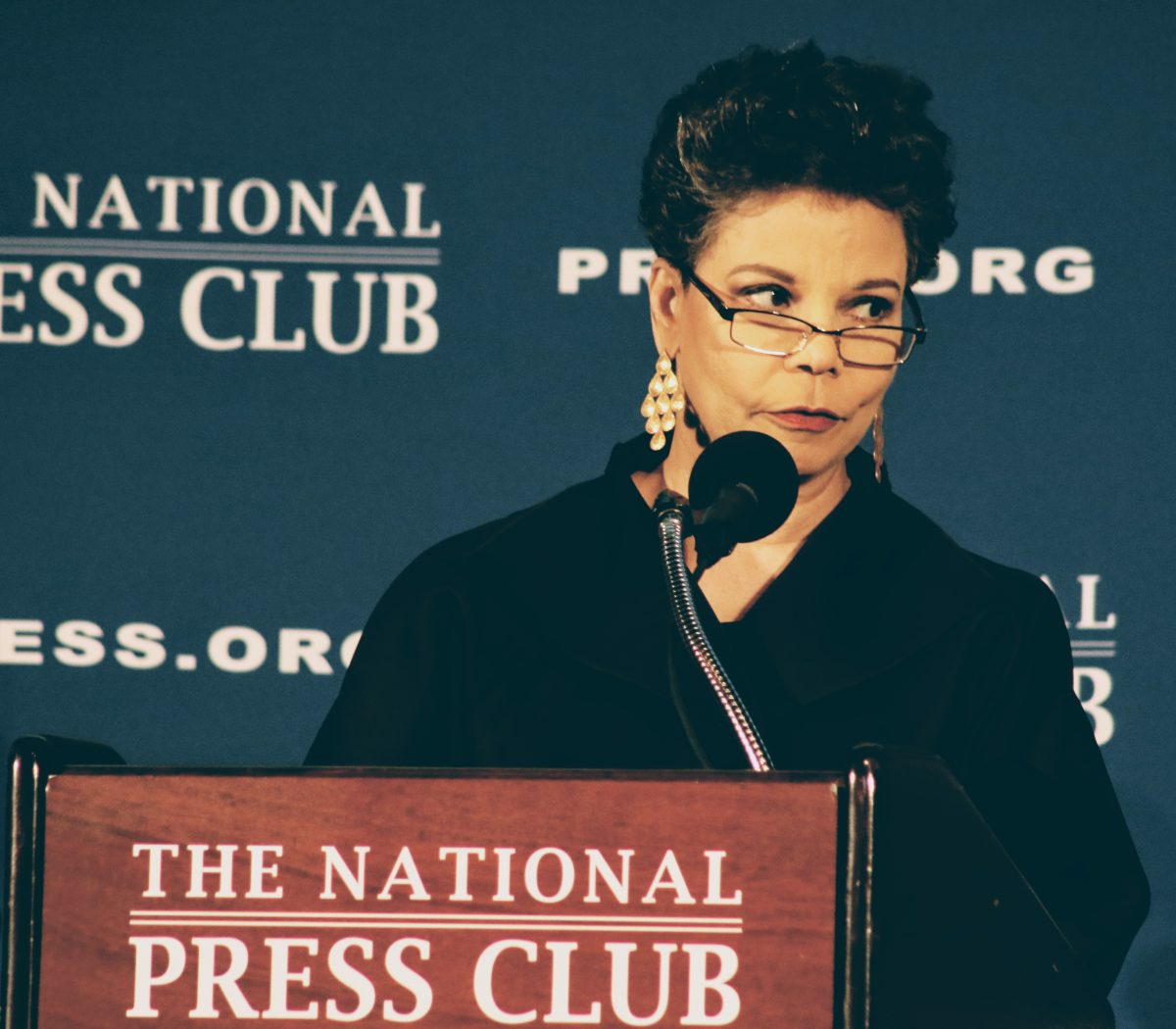 Maureen Bunyan, mistress of ceremonies at the inauguration gala for Jeffrey Ballou as the 110th President of the National Press Club on Saturday, Jan. 14. /Photo by Shevry Lassiter