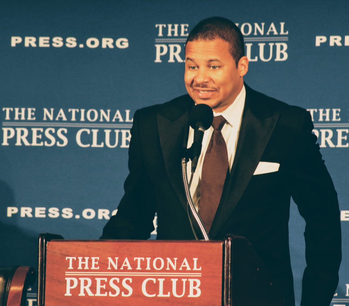 Matthew Watley, executive pastor at Reid Temple AME Church in Prince George's County gives the invocation at the gala for the inauguration of Jeffrey Ballou as the 110th President of the National Press Club in northwest on Saturday, Jan. 14. /Photo by Shevry Lassiter