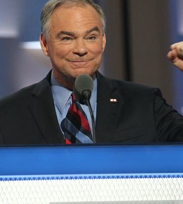 Senator Tim Kaine (D-Va.) accepts the vice presidential nomination during the DNCC in Philadelphia on Wednesday, July 27.