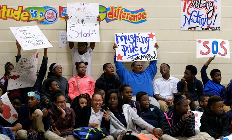 Baton Rouge Charter Academy students gather during a school-wide pep rally to save the school. (Mid-City Charter/Facebook)
