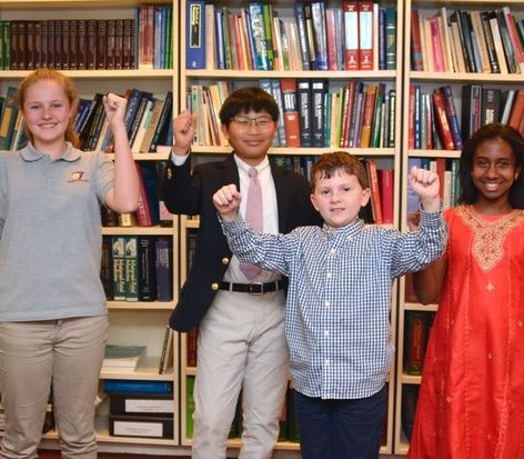 The top four winners of the 34th Annual Washington Informer Spelling Bee (left to right) Perrin Brady, William Cho, Harrison Hackett and Anina Holley Thursday, April 14.