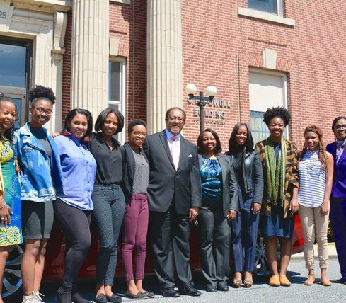 In conclusion of Chevrolet's car presentation on the campus of Howard University, fellow students and partners posed for one last group photo Friday, April 15. Photo by Travis Riddick. (From Left to Right) Denise Rolark Barnes, Mckenzie Marshall, Briahnna Brown, Tatyana Hopkins, Victoria Jones, Dr. Benjamin Chavis, Jr., Professor Yanick Rice Lamb, Michelle Matthews-Alexander, Sidnee King, Brelaun Douglas and Dean Gracie Lawson-Borders.