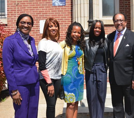 Howard University's Dean of the School of Communications Gracie Lawson-Borders joins lyricist MC Lyte, NNPA Chair Denise Rolark Barnes, Chevrolet's Diversity Marketing Manager Michelle Matthews-Alexander, and President and CEO of NNPA Dr. Benjamin Chavis, Jr, for a group photo following Chevrolet's car presentation Friday, April 15.
