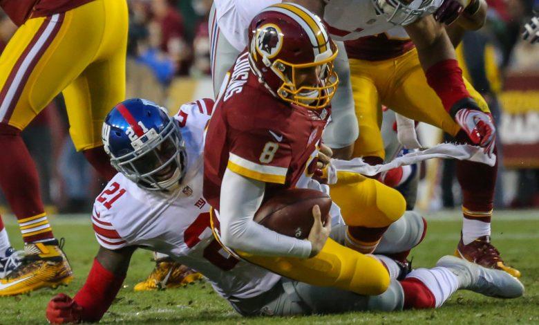 New York Giants safety Landon Collins sacks Washington Redskins quarterback Kirk Cousins during the Giants' 19-10 victory at FedEx Field in Landover, Maryland, on Jan. 1. (Courtesy of Rodney Pierce)
