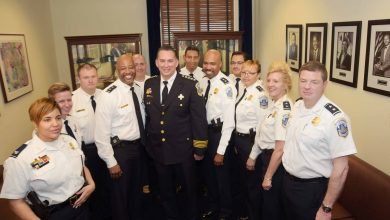 Peter Newsham (in blue) has been named chief of the Metropolitan Police Department. (Courtesy photo)