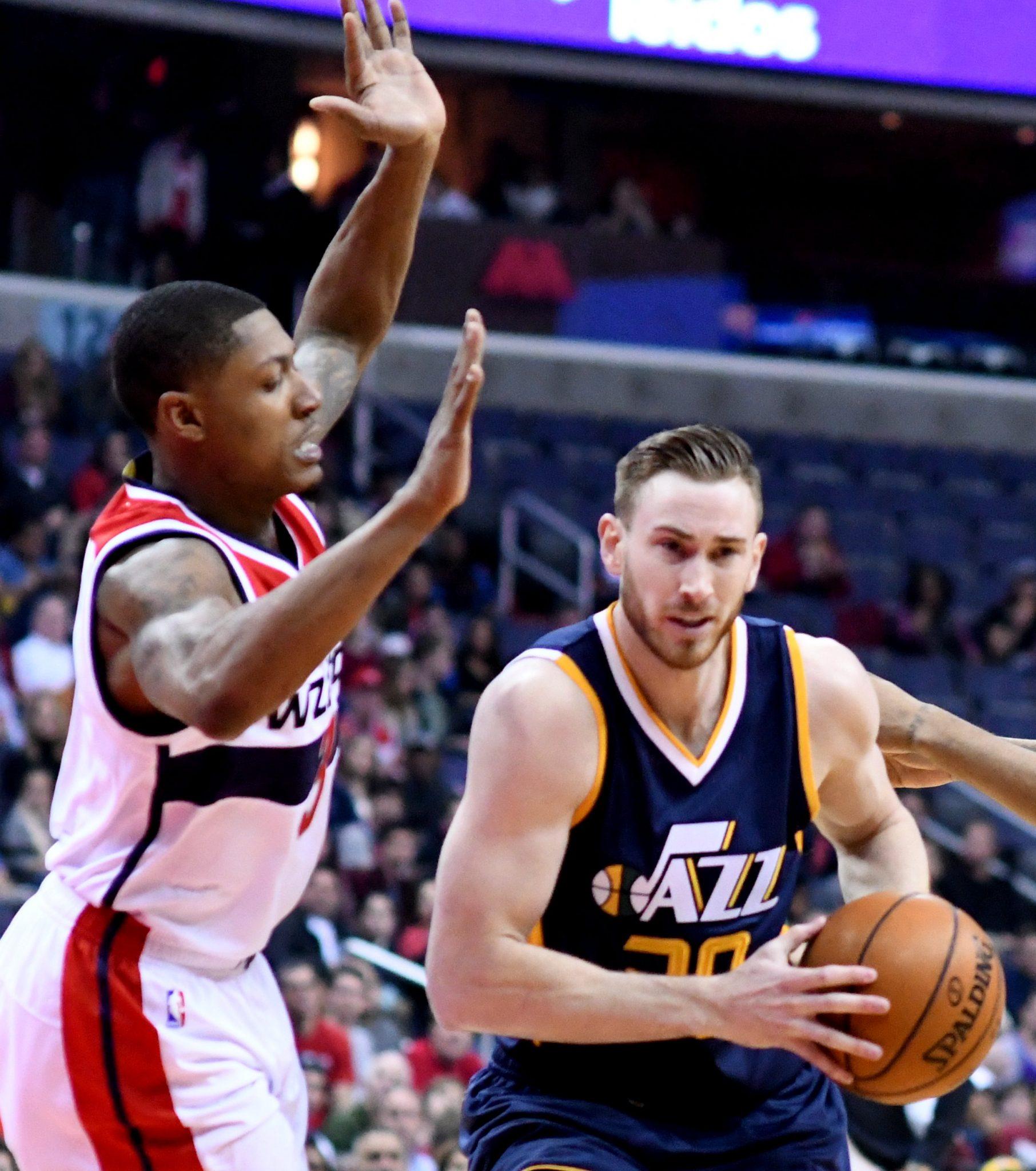 Utah Jazz forward Gordon Hayward drives to the basket against Washington Wizards guard Bradley Beal in the first quarter of Utah's 102-92 win at Verizon Center in northwest D.C. on Feb. 26. (John De Freitas/The Washington Informer)
