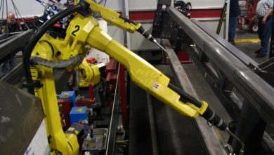 **FILE** Articulated welding robots are used in a factory. (Courtesy of Wikipedia)