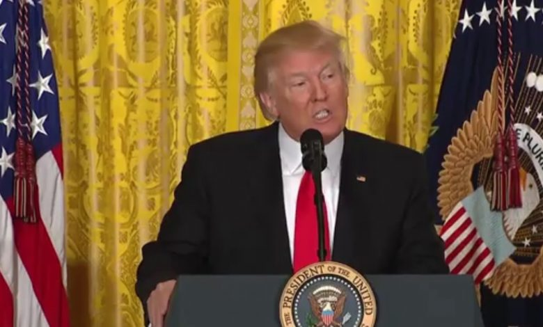 President Donald Trump speaks during a Feb. 16 press conference at the White House to announce Alexander Acosta as his nominee for labor secretary.