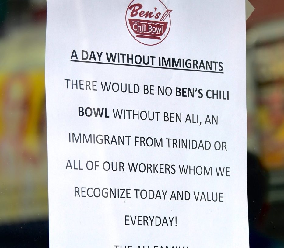 "Ben's Chili Bowl joined thousands of businesses nationwide on Feb. 16 to support the ""Day Without Immigrants"" demonstration in protest of the Trump administration's stance on immigration. (Travis Riddick/The Washington Informer)"