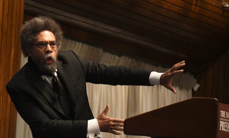 Princeton University professor Cornel West speaks during a town-hall style debate against Malik Zulu Shabazz at the National Press Club in northwest D.C. on Feb. 21. (Travis Riddick/The Washington Informer)