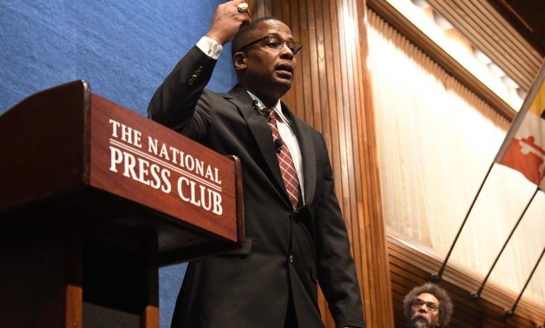 Malik Zulu Shabazz speaks during a town-hall style debate against Princeton University professor Cornel West at the National Press Club in northwest D.C. on Feb. 21. (Travis Riddick/The Washington Informer)