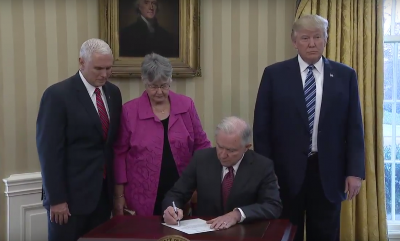 Jeff Sessions is sworn in as U.S. attorney general at the White House in D.C. on Feb. 9.