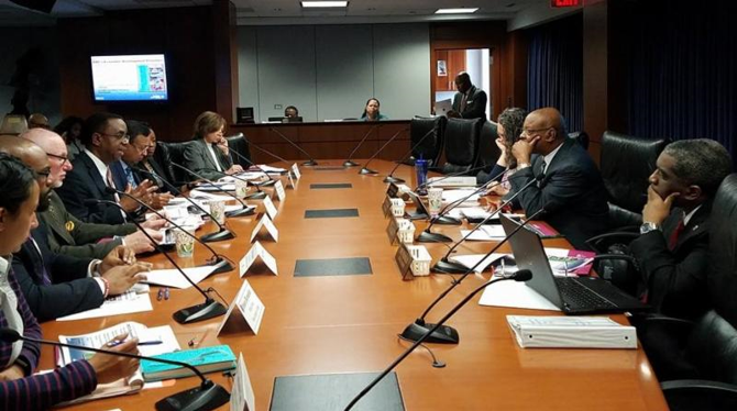Jim Coleman (center), president and CEO of Prince George's County Economic Development Corporation, makes a presentation to Prince George's County Council Planning, Zoning and Economic Development Committee Vice Chair Obie Patterson and other committee members on Feb. 15.
