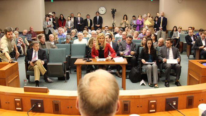 "Irving Mayor Beth Van Duyne (center) speaks at the ""Defending Against Radical Islamic Terrorism in Texas"" summit in Austin, Texas. (David Wilfong/North Dallas Gazette)"