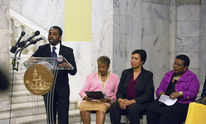 Ward 8 Councilman Trayon White speaks during presentation of statues and renderings March 6 of the late Marion Barry Jr. at the John A. Wilson Building in Northwest. (Mark Mahoney)
