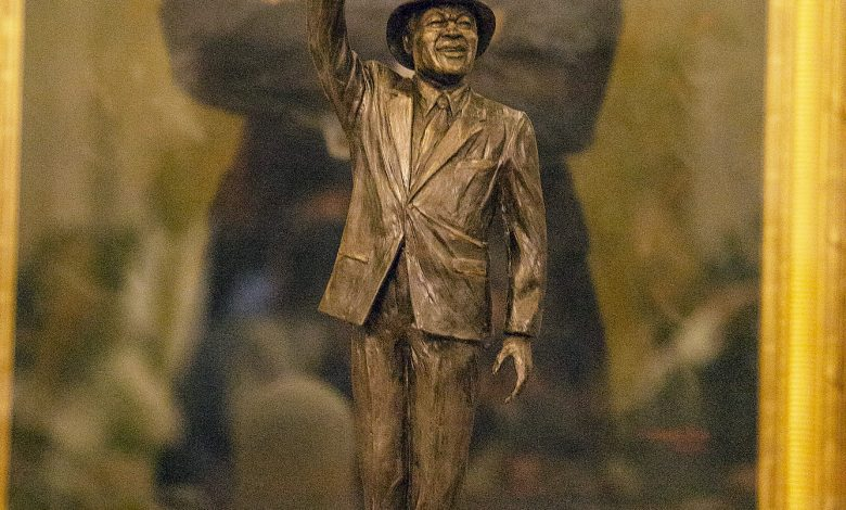 A proposed replica of the late Marion Barry Jr. was unveiled March 6 at the John A. Wilson Building in Northwest. (Mark Mahoney)