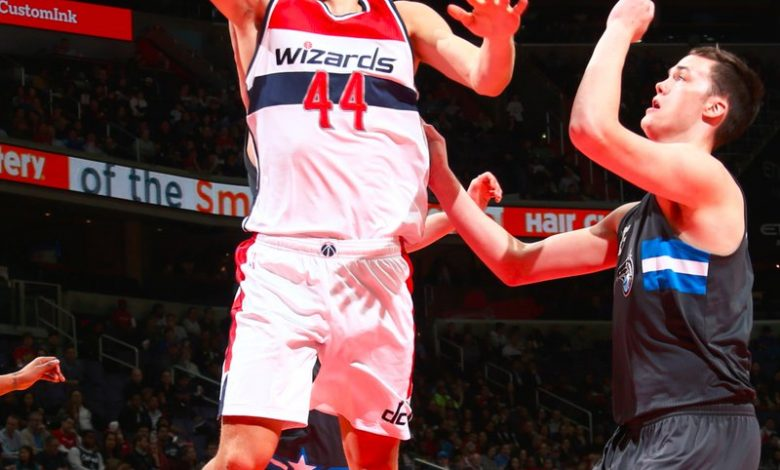 Bojan Bogdanovic hit eight 3-pointers, including the eventual game-winner, in a 115-114 victory over the Orlando Magic at Verizon Center in D.C. on March 5. (Courtesy of the Wizards via Twitter)