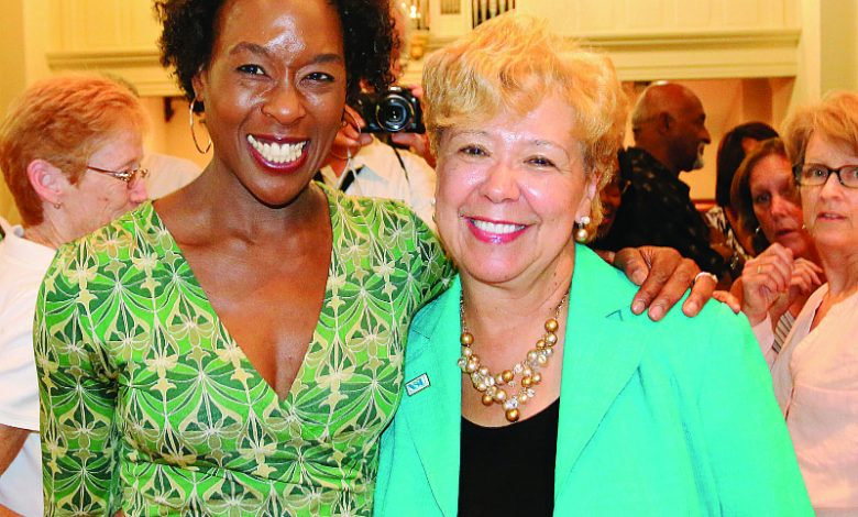 Brenda Andrews of the Journal and Guide and author Margot Lee Shetterly (Courtesy photo)