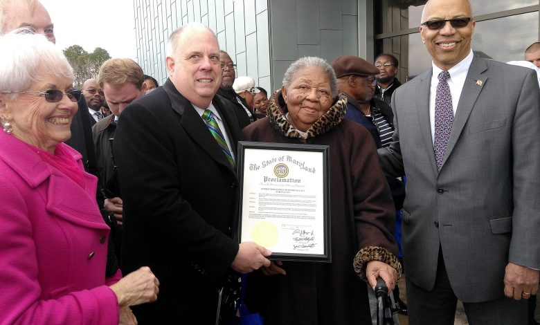 Celebrating the new Harriet Tubman are (from left) Maryland Rep. Adelaide Eckardt, Gov. Larry Hogan, Tubman descendant Valarie Manokey and Lt. Gov. Boyd Rutherford. (Photo by Lou Fields)