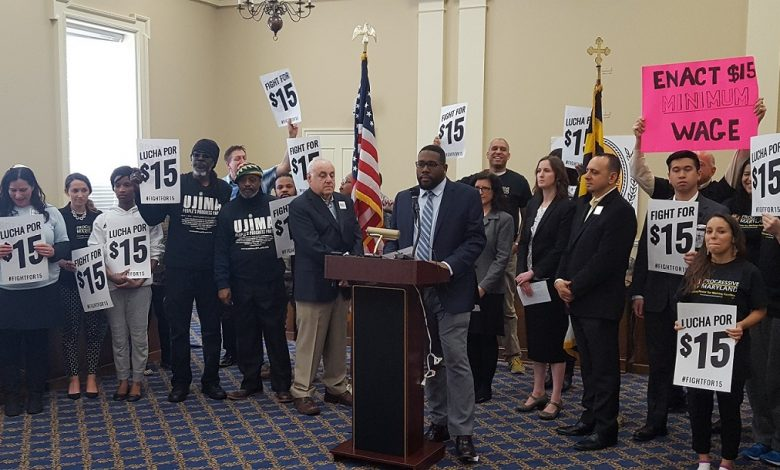 Dante Bishop, an organizer with Maryland Working Families, speaks during a March 7 press conference inside the Lowe House Office Building in Annapolis requesting state lawmakers pass legislation to increase the minimum hourly wage to $15. (William J. Ford/The Washington Informer)