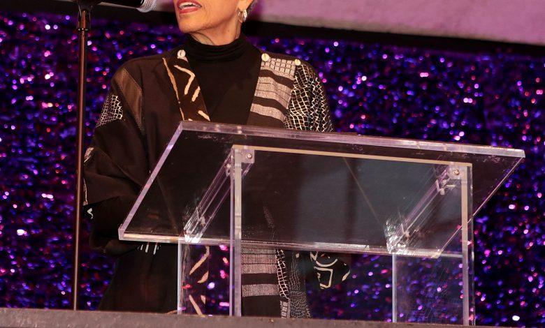 Dr. Johnetta Cole presents Martha's Table CEO Patty Stonesifer with the Community Foundation Civic Spirit Award at Arena Stage in Southwest on March 20. (Demetrious Kinney)